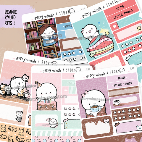 Set 7- Assorted Kyu-to Beanie Monthlies Kits, Belle's library, Inktober cat lady, B'day, Washi plant, hot cocoa