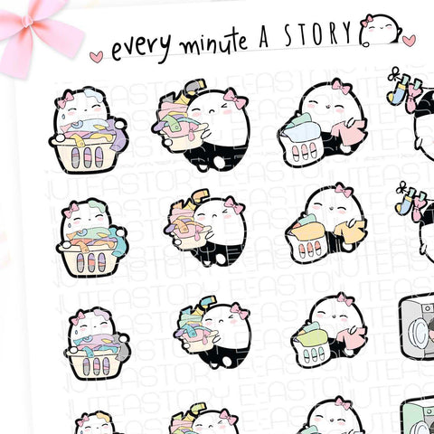 Beanie laundry and washing planner stickers