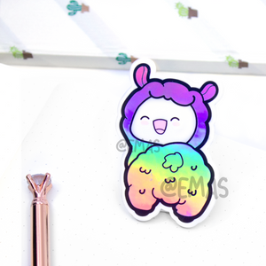 Llama butt Holographic weatherproof Vinyl die cut sticker, holo- LIMITED STOCK!