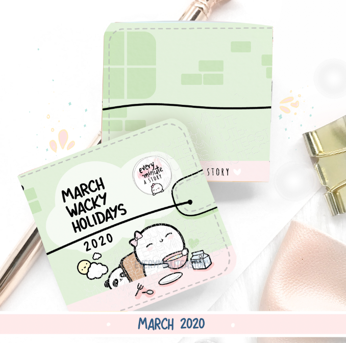 March 2020 Wacky Holidays Sticker book, monthly calendar
