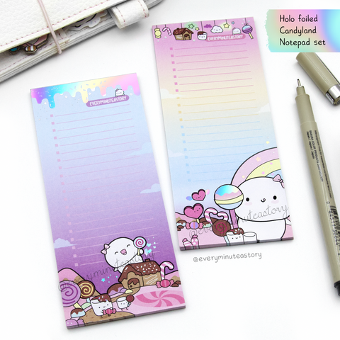 Candy Land Beanie Holo foiled notepad set of 2 | -LIMITED STOCK!