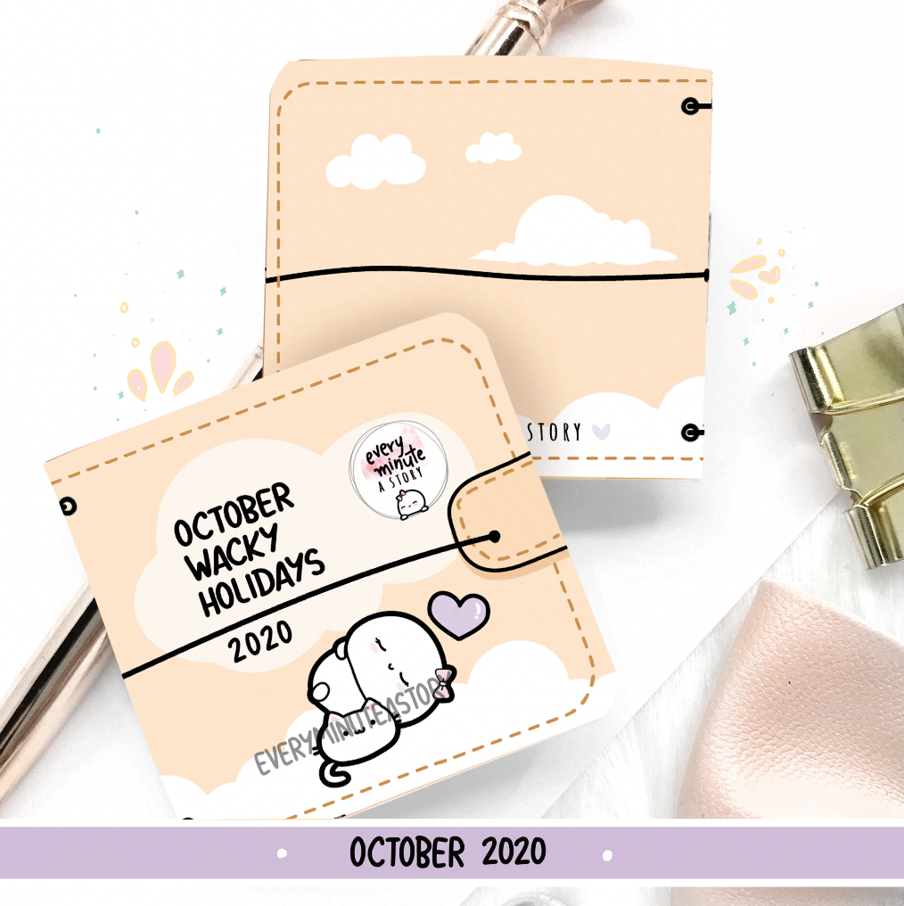 October 2020 Wacky Holidays Sticker book, monthly calendar