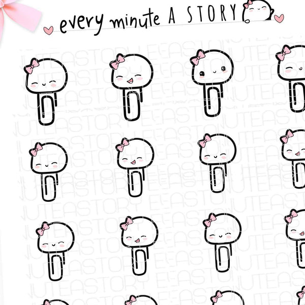 Beanie Paper clips planner stickers