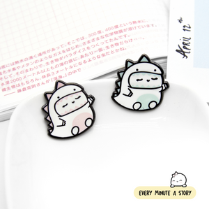 Dino Beanie enamel pins | Magnetic back, pin back