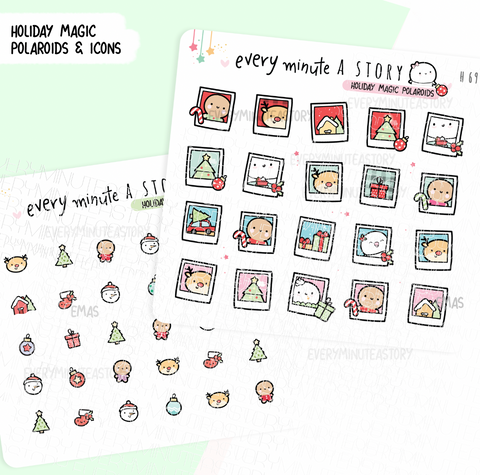 Holiday kawaii icons and polaroids- LOW STOCK!
