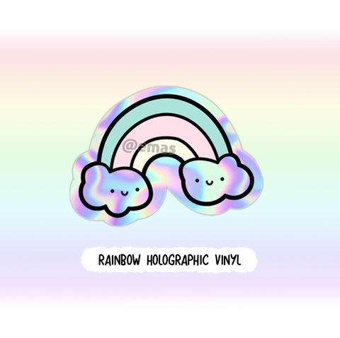Rainbow Holographic weatherproof Vinyl die cut sticker, holo- Limited Stock!