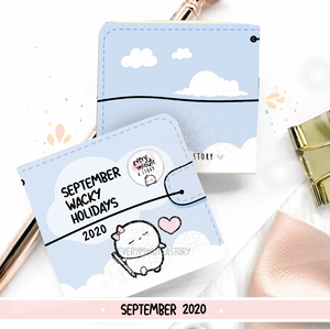 September 2020 Wacky Holidays Sticker book, monthly calendar