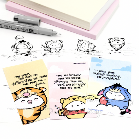 Winnie the Pooh and friends notecards/mini journaling cards- LIMITED STOCK!