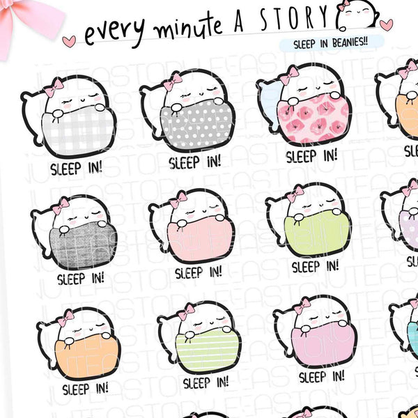 Beanie sleep in, nap time planner stickers