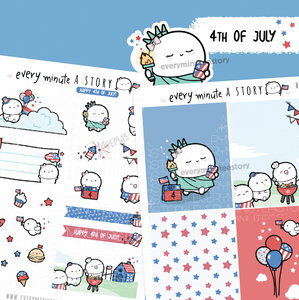 4th of July Beanie planner stickers-LOW STOCK!