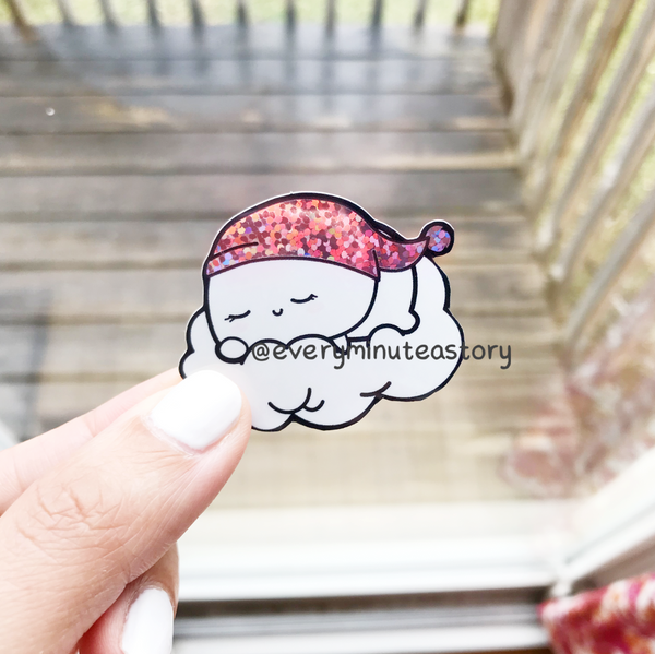Sleeping on clouds glitter Holographic weatherproof Vinyl die cut sticker | LIMITED STOCK!
