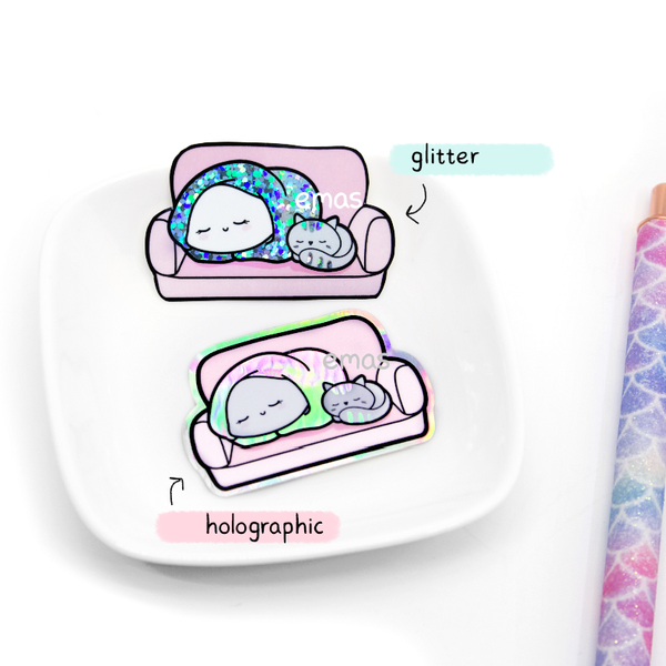 Couch potato glitter Holographic weatherproof Vinyl die cut sticker | LIMITED STOCK!