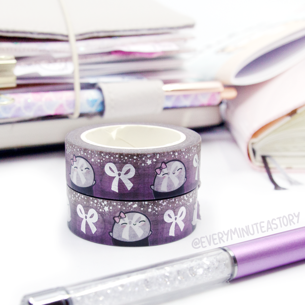 Purple sparkle Beanie bow washi, silver foil | -LOW STOCK!