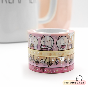 Baked with love washi Set of 4, silver foil | LIMITED STOCK! LIMIT: 4 sets/order