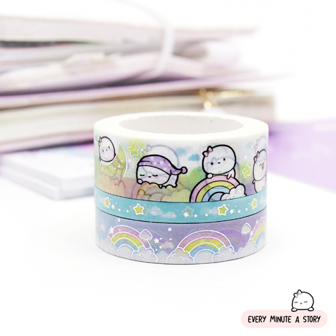 Over the rainbow Beanie washi set of 3, silver foil | LAST STOCK!