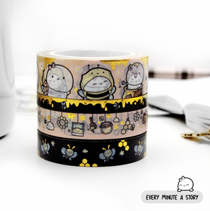 Hello Sunshine Honey bee washi Set of 4, gold foil | LIMITED STOCK! LIMIT: 3 sets/order