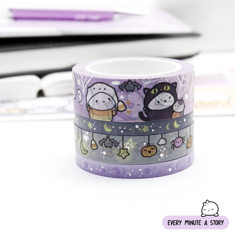 So cute it's scary Halloween Beanie washi Set of 4, silver foil | Last stock!
