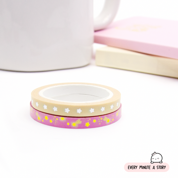 Starry washi, Gold,silver foil | Set fo 2 | Limited Stock!!