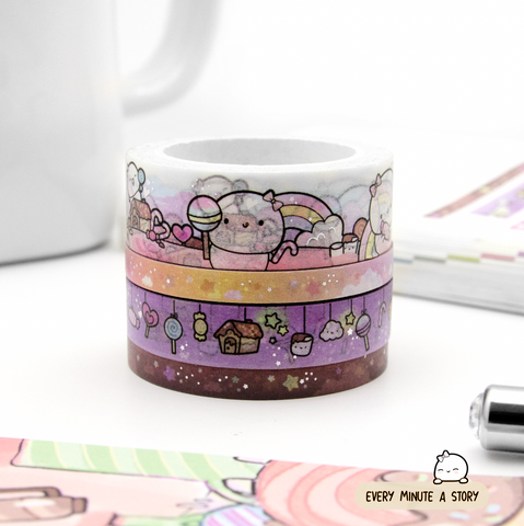 Candy land Beanie washi Set of 4, silver foil | LIMITED STOCK!