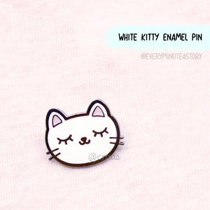 White cat glitter enamel pin--LOW STOCK!