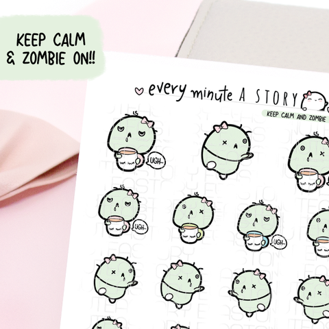 Zombie/Mom-bie Beanie planner stickers, tired, busy