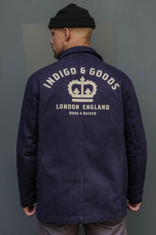 English Worker Jacket - Navy with Graphic