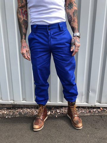 English Worker Trouser - Blue Cotton twill