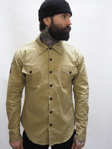 English Prison Patch Long Sleeve shirt - Sand herringbone