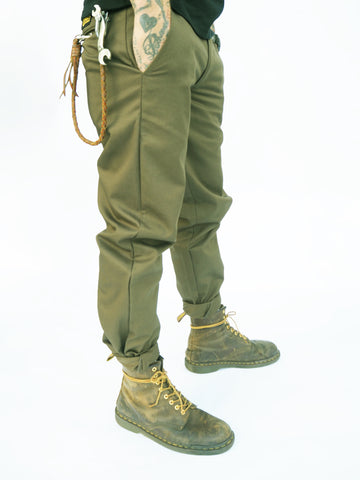 English Worker Trouser - Dark Olive Cotton twill
