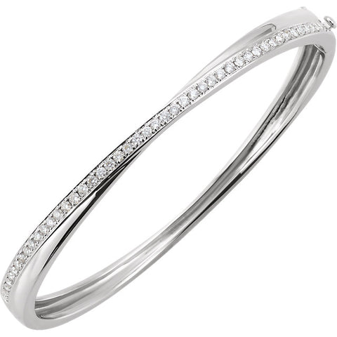 Diamond Cross Over Bangle Bracelet