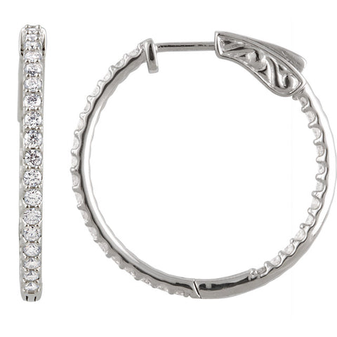 Interior + Exterior Diamond Hoop Hinged Earrings