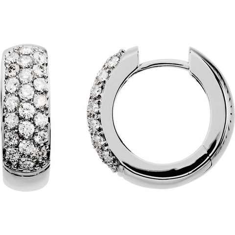 Diamond Pave Hinged Hoop Earrings