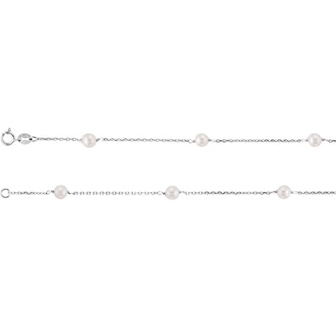 4MM White Pearl 14K White Gold Station Necklace