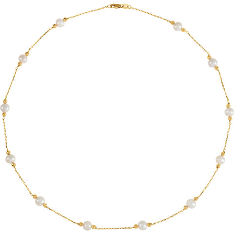 White Pearl 14K Pearl & Bead Station Necklace