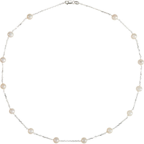 5.5-6.0MM White Pearl Sterling Silver Station Necklace