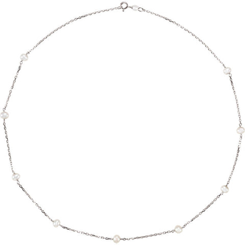 4.0-4.5MM White Pearl Sterling Silver Station Necklace
