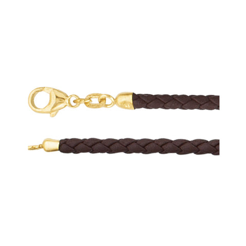 3MM Brown Leather Braided Cord