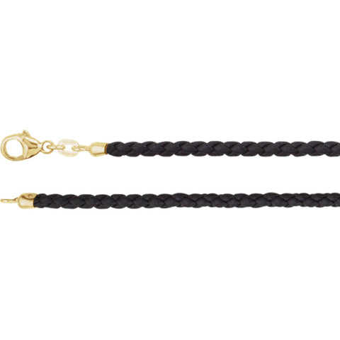 Black Leather Braided Cord