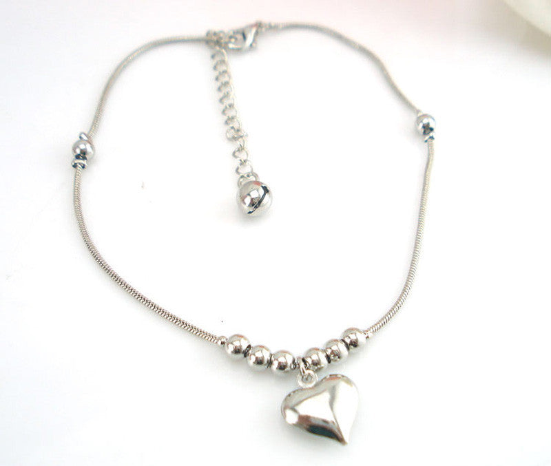 Anklet with Heart Shaped Pendant - roshanthy