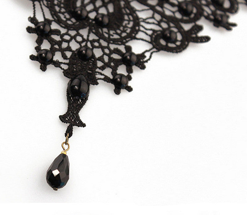 Black Lace Pendant Necklace - roshanthy