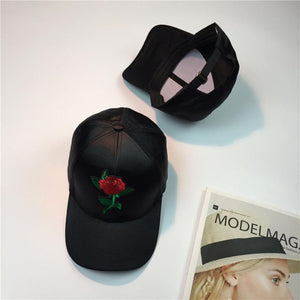 Baseball Cap with Embroidered Rose - roshanthy