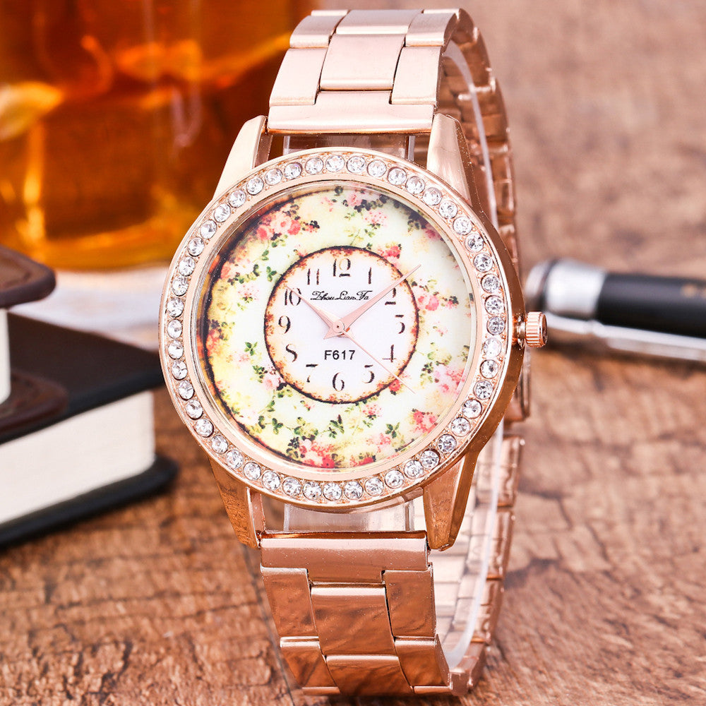 Floral Dial Quartz Watch - roshanthy