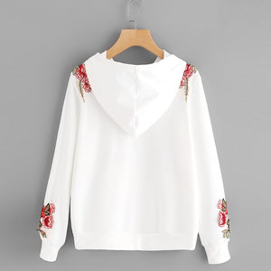 Hoodie Top with Delightful Roses - roshanthy