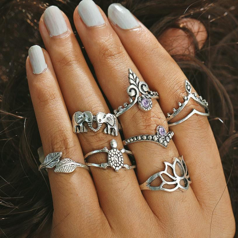 Turkish Silver Colour Ring Set - roshanthy