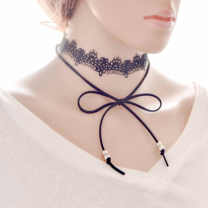 Bow Lace Clavicle Choker - roshanthy