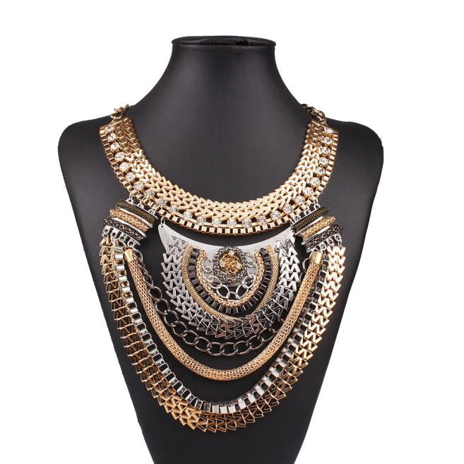 Gold & Silver Coloured Necklace - roshanthy