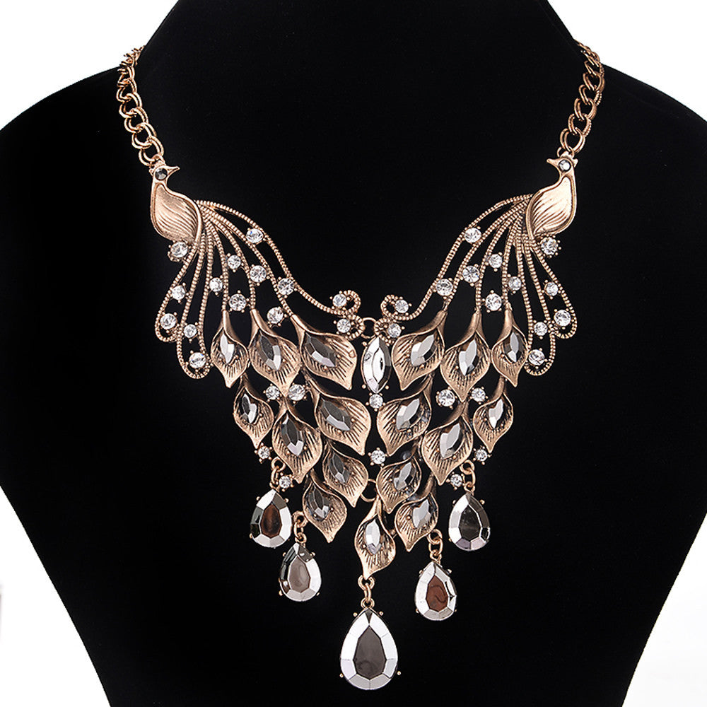 Crystal Peacock Necklace - roshanthy