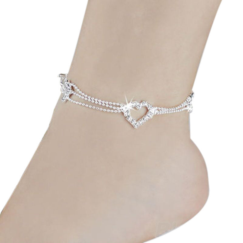 Anklet  with Glistening Heart - roshanthy