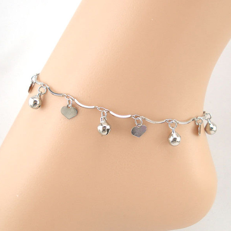 Hearts and Bells Silver Coloured Anklet - roshanthy