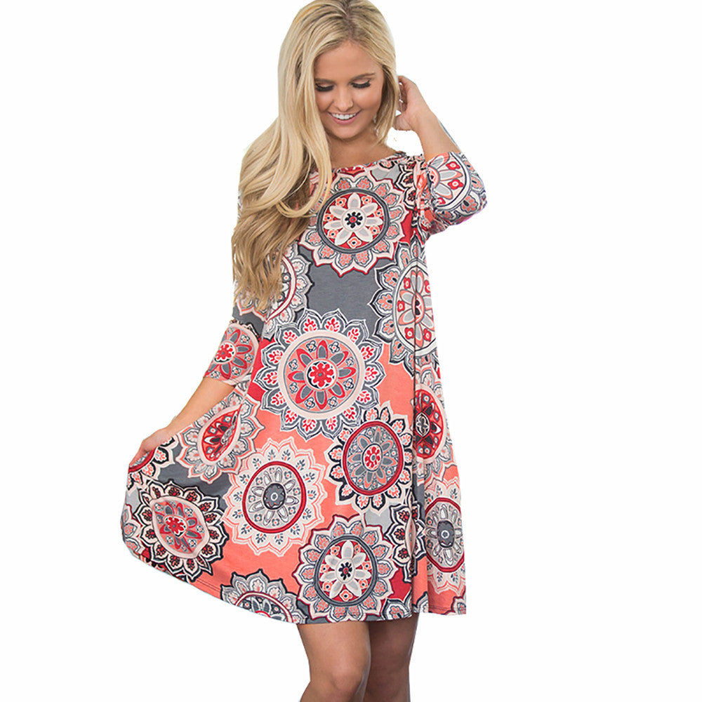 Vintage Boho Chic  Floral Maxi Dress - roshanthy
